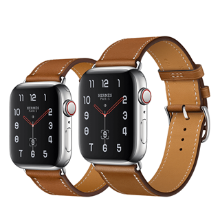 Apple Watch Series 4 Hermès Stainless Steel Case with Fauve Barenia Leather Single Tour