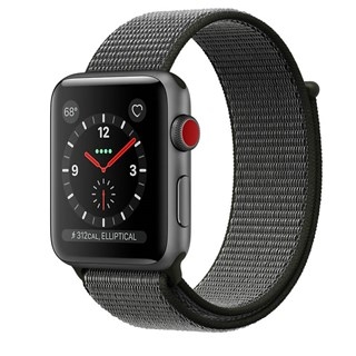 Apple Watch Series 3 GPS + Cellular 42mm - Space Gray Aluminum Case with Dark Olive Sport Loop - 99%